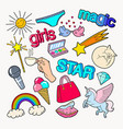 teenager girl style doodle with rainbow unicorn vector image