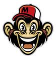 cartoon of cheerful monkey face vector image vector image