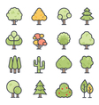 Tree Icon Bold Stroke with Color vector image vector image