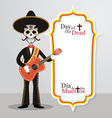 Day of the Dead Skull Mariachi vector image