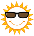 smiley sun with sunglasses vector image vector image