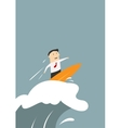 Businessman surfing on a wave of success vector image