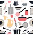 Kitchenware seamless pattern stylized hand drawn vector image