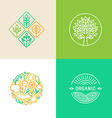 linear logo design template and badges vector image