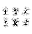Old tree icons silhouettes with roots vector image