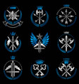 vintage weapon emblems set heraldic signs vector image