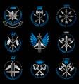 vintage weapon emblems set heraldic signs vector image