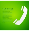 Telephone handset flat icon on green background vector image