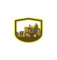 Farmer Driving Tractor Plowing Farm Shield Retro vector image vector image