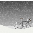 Snow Covered Bicycle Calm Winter Scene vector image vector image