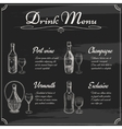 Drink menu elements on chalkboard vector image