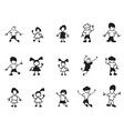 doodle kids icons vector image