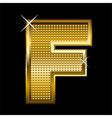 Golden font type letter F vector image