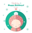 Greeting card with fun child for holidays in flat vector image