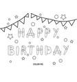 happy birthday coloring card vector image