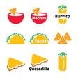 mexican food icon set - tacos nachos vector image