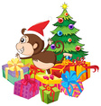 Christmas theme with monkey and tree vector image vector image