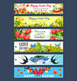easter gift tag set with cartoon holiday symbols vector image
