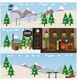 set of winter fun interior flat posters vector image vector image