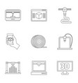 3d printer innovation icon set outline style vector image