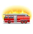 Firetruck in fire vector image