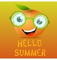 Funny cartoon orange in the eyeglasses vector image