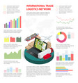 business infographics global logistics network vector image