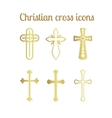 Golden christian cross icons on white vector image