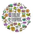 Online shopping circle vector image