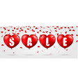 red heart background with sale vector image