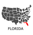 state of florida on map of usa vector image