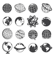 Earth Globe Icons Set on White Background vector image vector image