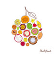 sketch colored exotic products round concept vector image
