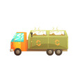garbage truck full of waste recycling of garbage vector image