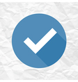 check mark blue on crumpled paper vector image vector image