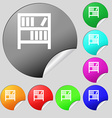 Bookshelf icon sign Set of eight multi colored vector image