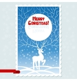 Christmas card with white stylized deer vector image vector image