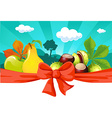 Autumn still life with fruit vegetables tree and vector image
