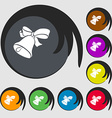 bell icon Symbols on eight colored buttons vector image