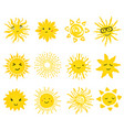 cute set of sun icons vector image