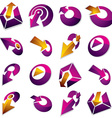 Dimensional purple app buttons Collection of vector image