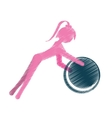 girl ball gym fitness sport pink silhouette vector image