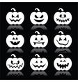 Halloween pumpkin icons set on black vector image