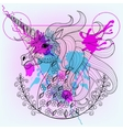 Hand drawn magic unicorn for adult coloring vector image