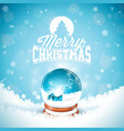 merry christmas with typography and magic snow vector image