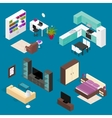 Room Furniture Set Isometric View vector image