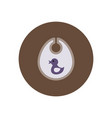 Stylish icon in color circle children bib duck vector image