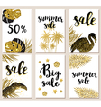 Set of summer tropical glitter cards vector image vector image