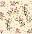 seamless pattern with branch of cherry blossoms vector image