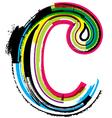 Grunge colorful font Letter c vector image